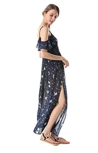 vestito per Estate sera spalla seta donna chiffon di Acvip lungo Marina Beach nuda in qUxvCEq7w