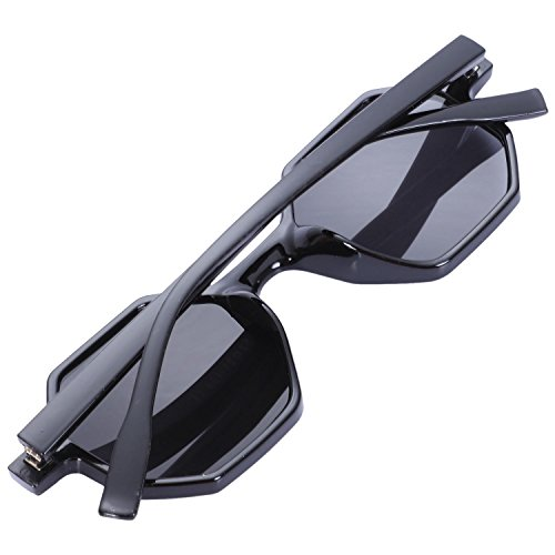 Pequenas Vintage Gafas Gafas Sol de Senoras de Gafas Retro Sol de Sol TOOGOO Poligonales de Negras lujo Negro Sunglass Mujeres wfPZYPqxv