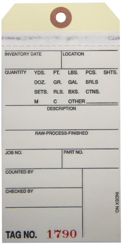 Aviditi G15041 10 Point Cardstock #8 2 Sided Carbonless Inventory Tag,