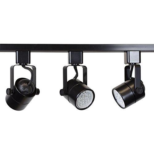 Direct-Lighting Brand H System 3-Lights GU10 LED Track Lighting Kit Black 3K Warm White Bulbs Included HT-50154L-330K-BLACK (Circuit Single Track Lighting)