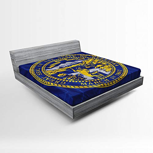 Lunarable American Fitted Sheet, Nebraska Flag Equality Before The Law Words Geography Nation Pride, Soft Decorative Fabric Bedding All-Round Elastic Pocket, Queen Size, Navy Blue Yellow Coconut