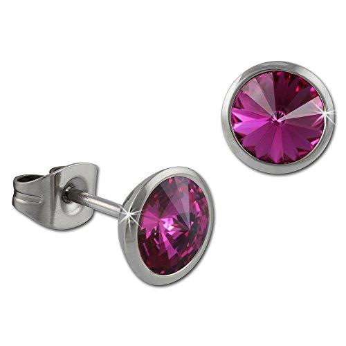 Amello bijoux en acier inoxydable - Amello boucles d'oreilles en acier inoxydable -clous d'oreilles ronde avec Swarovski Elements rose vif - ESOS07P