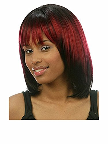 B-G Charming Wig Synthetic Fashion Bob Wigs 16'' Women's Hair Wigs Natural As Real Hair + 1 Free Wig Cap (Red And Black Wigs)