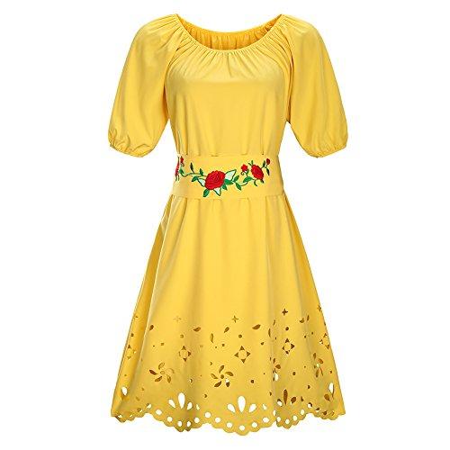iBaste Damen Kurzarm Abendkleid Rundhals Schulterfrei Kleid Swing ...