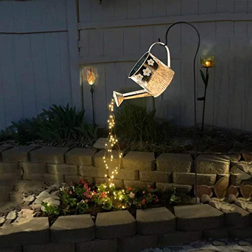 bestheart Shower Garden Art Light Decoration,Vine Solar Watering Can Lights,Waterproof LED Lights for Garden, Lawn, Patio, Courtyard,Outdoor Garden Metal Decor Lights