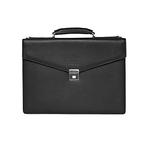 Giorgio Armani Collezioni Men's Matte Grained Leather Briefcase Bag with Shoulder Strap Black ()