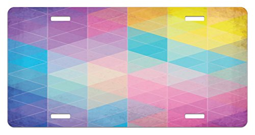 Indie License Plate by Ambesonne, Abstract Triangles Classical Diamond Line Pattern in Dreamy Colors Artistic Modern, High Gloss Aluminum Novelty Plate, 5.88 L X 11.88 W Inches, Multicolor