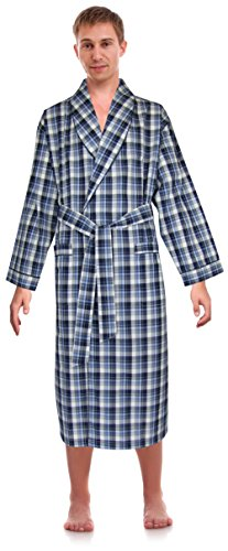 Robes King Classical Sleepwear Men's Woven Shawl Collar Robe,