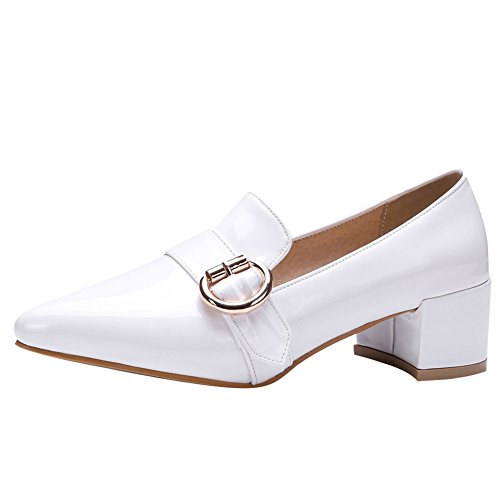 Heel Shoes Show Toe Slide Chunky Point Shine Loafers White Womens 1wAxqACHg