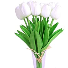 Luyue Artificial Silk Flower Mini Tulips Real Touch Flowers Bouquet For Wedding Party Decoration Pack of 12 (White)