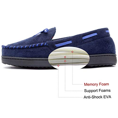 Plaid with Memory Women's Lining Blue Moccasin Dark Slippers Foam RockDove 7fAFq
