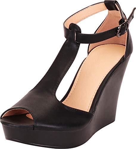Cambridge Select Women's Peep Toe T-Strap Chunky Platform Wedge Sandal,7 B(M) US,Black PU
