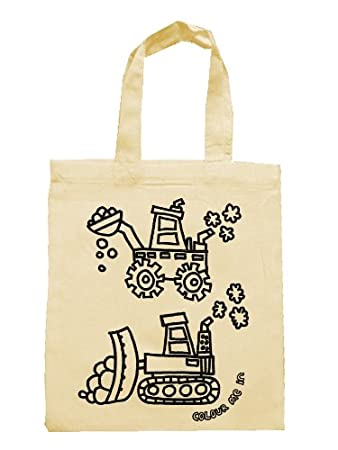 Party bags for kids to colour in printed outline kids craft diggers design