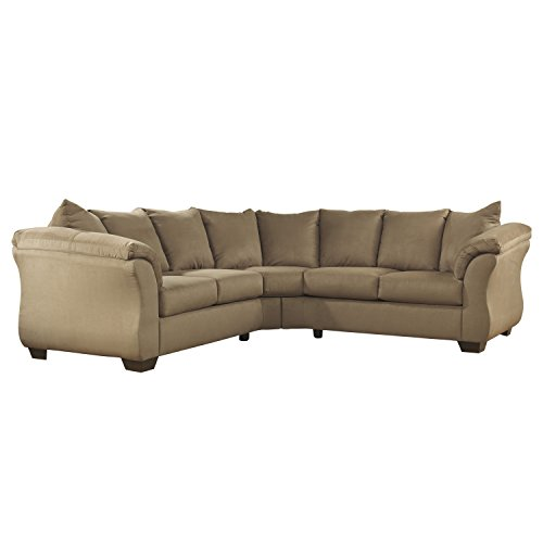 Flash Furniture Signature Design by Ashley Darcy Sectional in Mocha Microfiber (Set Living Room Mocha)