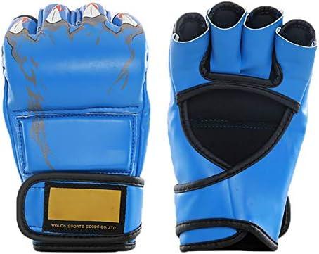 エクササイズ用 キックボクシングスパーリングのために人の女性のレザーフィンガーレスパンチングバッグミットのためにボクシンググローブ 通気性 (Color : Red, Size : One size)
