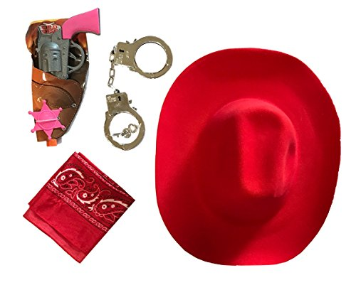 [Cowboy Cowgirl Sheriff Costume - Kids- Cowboy Hat, Kids Handcuffs and Guns, Badge (Sheriff - COWGIRL)] (Cowgirl Costumes Kit)