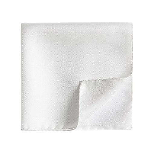 Harvest Male Silk Pocket Square - 100% Silk Handkerchief for Men's Suit (White) -
