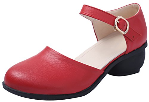 Abby 6823 Donna Primavera Fresca Chiusa Punta Tonda Mary Jane Traspirante Tacco Largo Moderno Scarpe Da Ginnastica Quadrato Danza Rossa