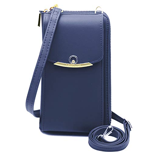Cyber Deals Monday Sales Womens Purse Leather Cellphone Holster Wallet Case Small Crossbody Shoulder Phone Bag Pouch Handbag Clutch for iPhone 11 Pro 8 7/6 Plus Xs Max X Xr Samsung S10+ (Z-Navy)