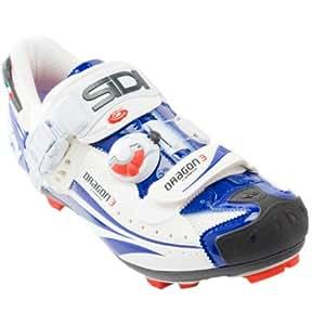 Sidi Dragon 3 Carbon SRS Shoe - Men's White/Blue Vernice, 46.5