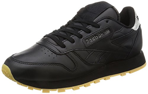 Reebok Femme Diamond Sneakers black Met Classic Leather Noir Basses gum rYPqpr