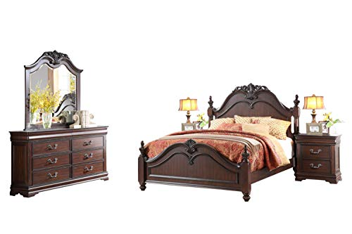 Momeyer French Country 5PC Bedroom Set Queen Poster Bed, Dresser, Mirror, 2 Nightstand in ()