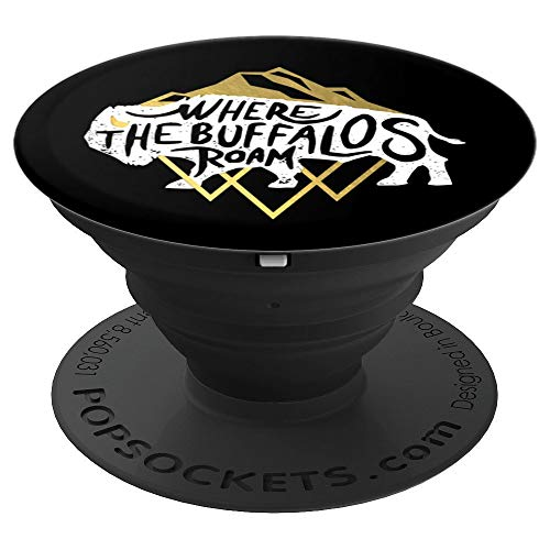 Where The Buffalos Roam Southwest Native - PopSockets Grip and Stand for Phones and Tablets