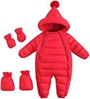 Lemohome Baby Winter Warm Down Snowsuits Solid Color Hooded Puffer Outerwear