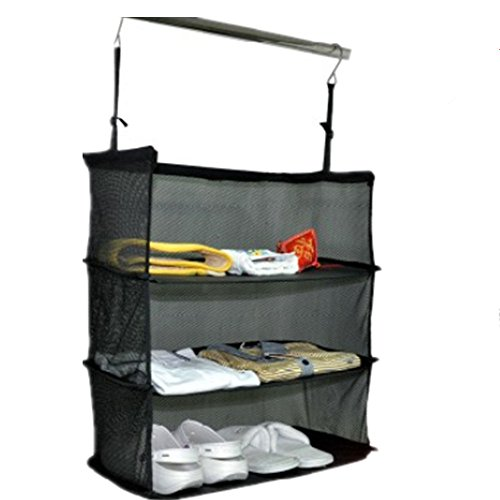 M&F Hanging Organizer Clothing Towel Rack Travel Luggage Storage Suitcase Hanging 3 Shelves Storage Bag (Suitcase Dresser)