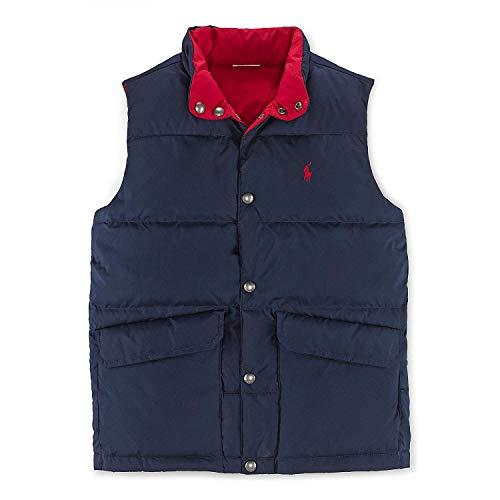 (Ralph Lauren Boy's Ripstop Reversible Down Vest (Navy/Red, 3T))