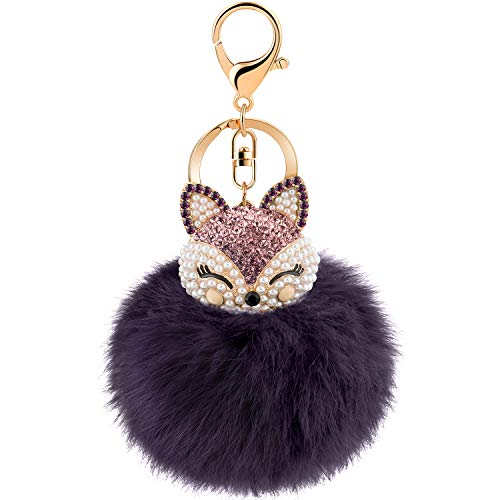(JOUDOO Rabbit Ball Keychain with Rhinestone Fox Head Keyring GJ-001 (Purple))