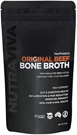 Paleo Bone Broth Collagen Powder - Sourced from 100% AU Grass Fed, Pasture Raised Beef for Max Nutrition - No Preservatives, Additives, Paleo Friendly, Promotes Healthy Gut - Beef Bone Broth