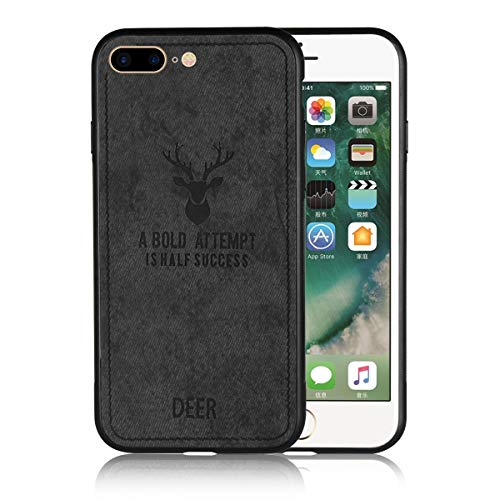 - iPhone 7/8 Plus Case Cavor Flexible Soft Phone Case with Ultra Slim Scratch Resistant Full Protective Matte Cloth and Deer Pattern Cover Case for iPhone 7 Plus/iPhone 8 Plus-Black
