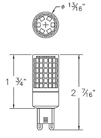 EmeryAllen (Pack of 4) 5.0W Miniature LED Bulb, Dimmable - G9 Base, 120V, CRI>90, 2700K, 545 Lumens, Equivalent to 60W Halogen - - Amazon.com