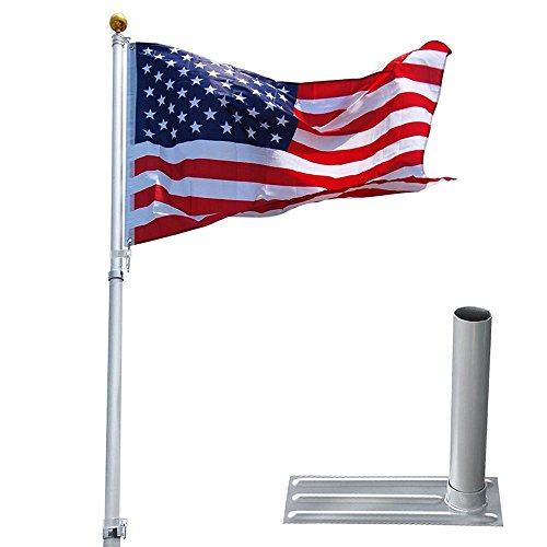 (Yeshom 25ft Telescopic Aluminum Flag Pole + Wheel Tire Mount Stand Kit w/ 3'x5' Us Flag & Ball Top Telescoping Flagpole)