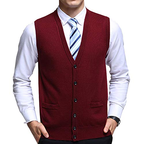 Flygo Men's Basic Solid V-Neck Wool Sweater Vest Knitwear with Button Front Pockets (Medium, Wine Red)