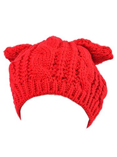 Persun Women Red Cat Ears Knit Beanie Hat