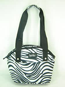 Nicole Miller Insulated Lunch Bag Tote Zebra Print Black White Multi