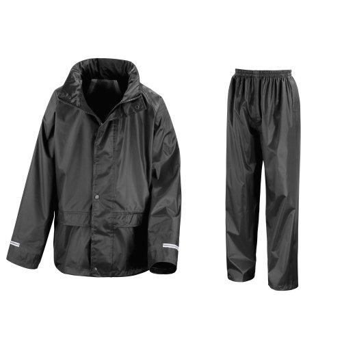 (Result Core Childrens/Kids Unisex Junior Rain Suit Jacket And Trousers Set (11-12) (Black))