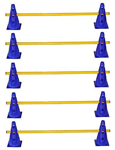Agility Hundesport - 5er Set Steckhürden - 10x MZK: 23 cm, blau / 5x Stange: 100 cm, gelb