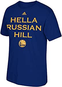 Adidas Golden State Warriors NBA Hella San Francisco Neighborhood Series T-Shirt, Blue (Small, Russian Hill)