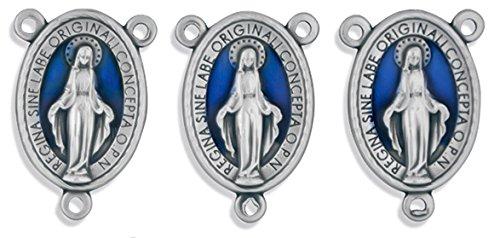 (22mm Miraculous Medal Rosary Center - Pack of 3 (Blue Enamel))