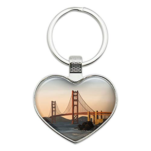 Golden Gate Bridge San Francisco Heart Love Metal Keychain Key Chain Ring