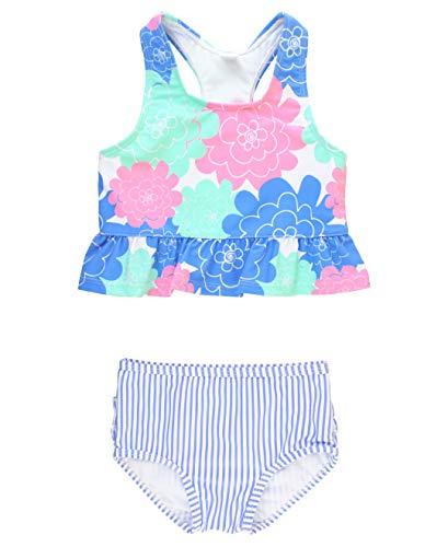 RuffleButts Baby/Toddler Girls Pastel Petals Peplum Tankini - 18-24m