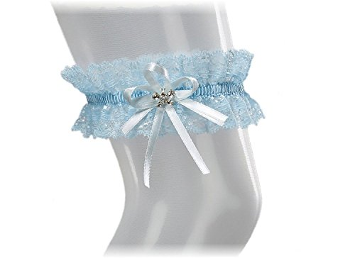 XL XXL Elastic Bridal Lace PLUS SIZE Garter - With SPARKLING Crystals in BUTTERFLY Shape - Something Blue Under Wedding Dress -- BLUE