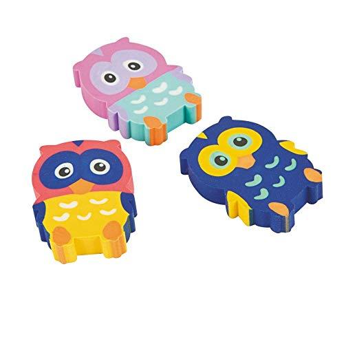 Fun Express Owl Erasers 2 Dozen, Party Favors,birthday's Party Supplies,School Supplies,Office Supplies, Toys -