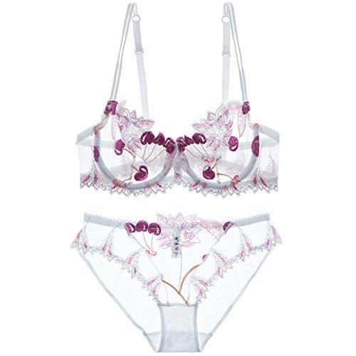 Baqijian Flowers Lace Lingerie Set Underwear Women Sexy Bra Panty Black White - Jim White Wiki