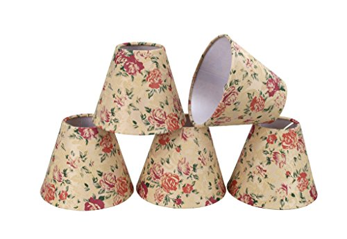 "32003-5 Small Hardback Empire Shape Chandelier Clip-On Lamp Shade Set (5 Pack), Transitional Design in Floral Print, 6"" Bottom Width (3"" x 6"" x 5"")"
