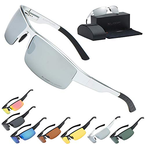 Xloop Polarized Aircraft Aluminum Driving Wrap Around Sunglasses For ()