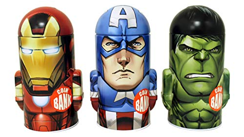 The Tin Box Company 738007-3DS Marvel Avengers Tin Banks (Set of 3), Red and Blue (Pack of 3) ()